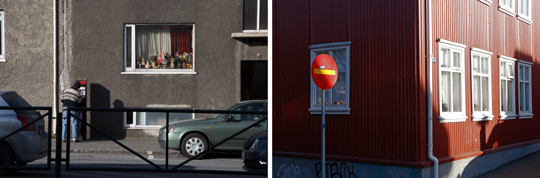 Links: In Reykjavík bezahlt ein Mann seinen Parkschein und steht dabei unter einem Fenster, das mit Porzellanfiguren gefüllt ist. Rechts: Ein leuchtend rotes 'Einfahrt verboten'-Schild hat dieselbe Farbe wie eine Hausfassade, die im typisch nordischen Stil aus Wellblech errichtet wurde.