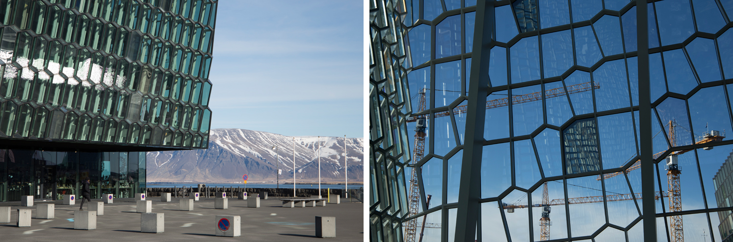 Left: The Harpa Concert Hall in Reykjavík is a huge, cubic building clad in a mosaic of glass panels, each of them forming a different polygon shape. It sits right next to the sea and the snow covered mountains across the bay. Right: A detail of the glass panels from the inside, with some construction site cranes visible on the other side.
