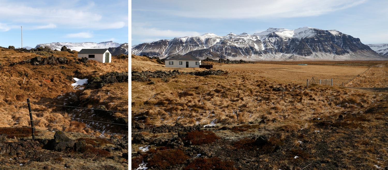 Ein weißes Haus irgendwo im Nirgendwo, umgeben von subpolarer Tundra, die sich in alle Richtungen ausdehnt.