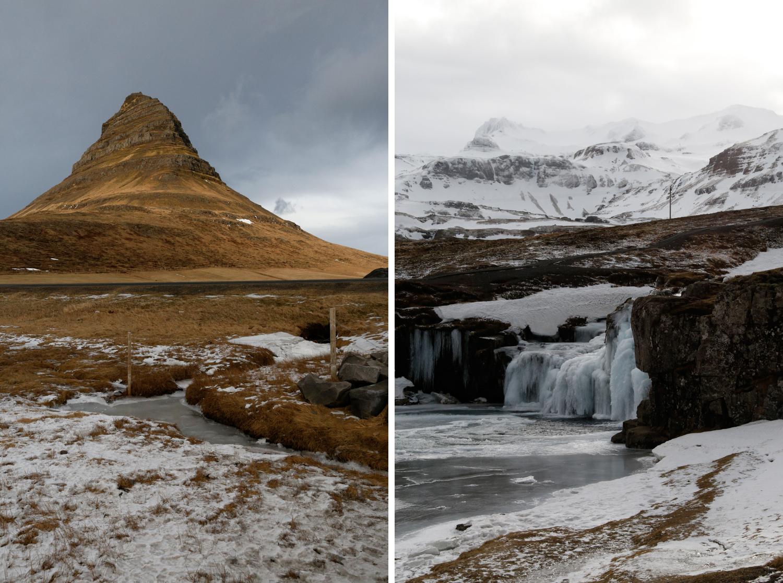 Links: Kirkjufell ist ein steiler Berg mit einer beinahe dreieckigen Form. Sein hellbrauner Grasbewuchs hebt ihn von einem dramatischen grauen Himmel ab. Rechts: Der Kirkjufellsfoss-Wasserfall ist halb vereist. Seine großen Eiszapfen fügen sich in eine Umgebung ein, die von Schnee und Eis dominiert ist.