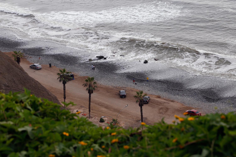Ein Blick von oben zeigt eine Reihe von Limousinen, geparkt entlang einer unbefestigten Straße, die zu einem Kiesstrand führt. Eingerahmt von einem gelb blühenden Strauch an der Klippe und einer Reihe von Palmen ist eine Handvoll Leute zu sehen, die in die Ferne schauen, während graue Wellen mit weißer Gischt auf den grauen Strand prallen.